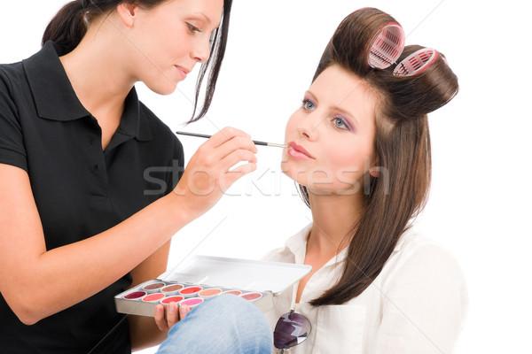 Make-up artist woman fashion model apply lipstick Stock photo © CandyboxPhoto