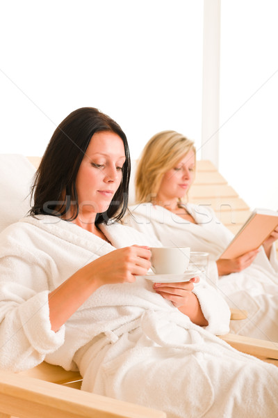 Beauty spa relax two women on sun-beds Stock photo © CandyboxPhoto
