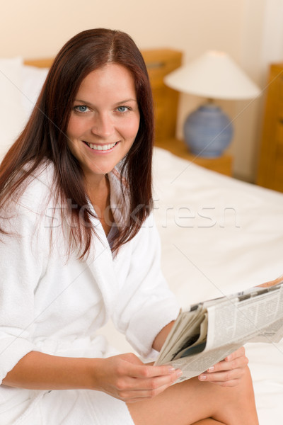 Attractive woman read morning newspapers bedroom Stock photo © CandyboxPhoto