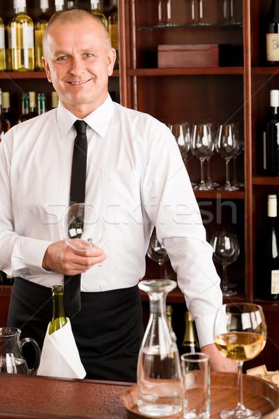 Kelner szczęśliwy mężczyzna restauracji bar Zdjęcia stock © CandyboxPhoto