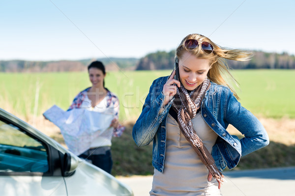 Two women lost on road call help Stock photo © CandyboxPhoto