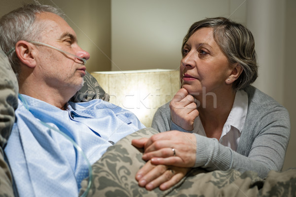 Senior patient at hospital with worried wife Stock photo © CandyboxPhoto