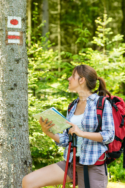 Female hiker checking the map and blaze Stock photo © CandyboxPhoto