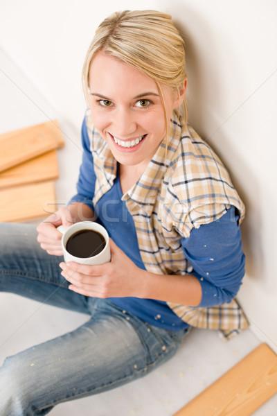 Home improvement - handywoman coffee break Stock photo © CandyboxPhoto
