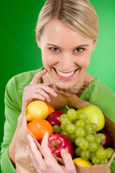 Stock fotó: Egészséges · életmód · nő · gyümölcs · vásárlás · papírzacskó · zöld