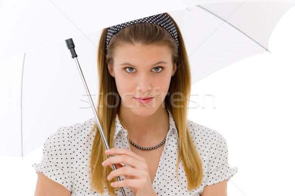 Fashion - young woman umbrella designer clothes Stock photo © CandyboxPhoto