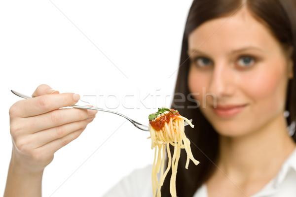 Olasz étel egészséges nő eszik spagetti mártás Stock fotó © CandyboxPhoto
