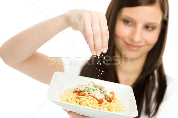 Italian food - woman spaghetti grated cheese sauce Stock photo © CandyboxPhoto