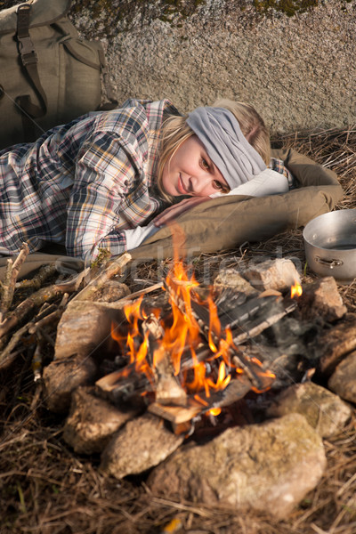 Hiking woman with backpack sleep by campfire Stock photo © CandyboxPhoto