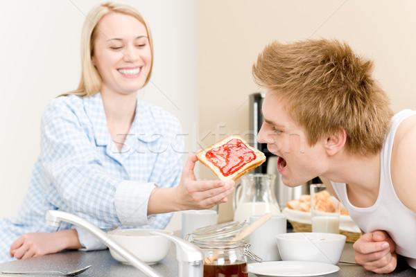 Stockfoto: Ontbijt · gelukkig · paar · man · vrouw · toast