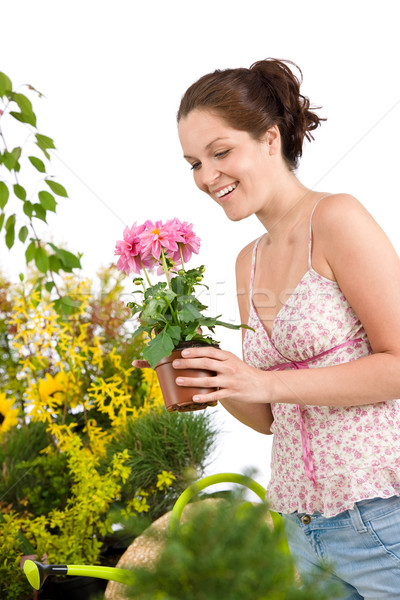 Jardinage femme souriante blanche nature Photo stock © CandyboxPhoto