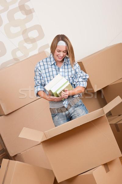 Foto stock: Mujer · cuadro · libro · nuevo · hogar · papel