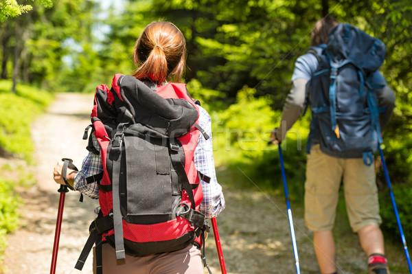 Toeristische paar wandelen bos zomer meisje Stockfoto © CandyboxPhoto