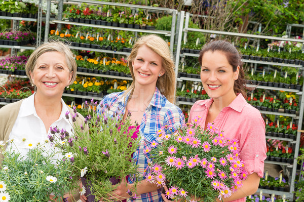 Women garden centre shop hold potted flower Stock photo © CandyboxPhoto