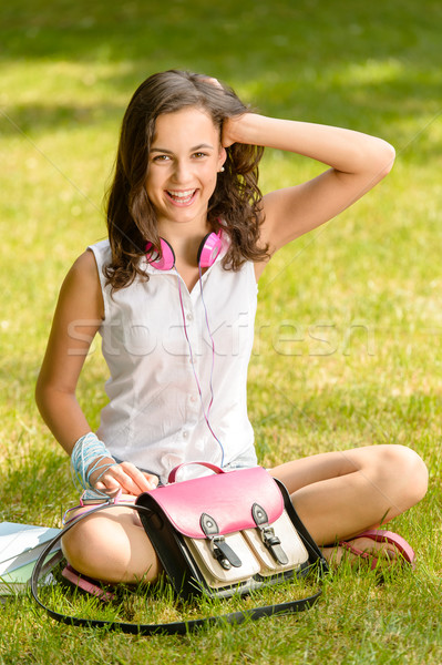 Cheerful student girl sitting on grass summer Stock photo © CandyboxPhoto