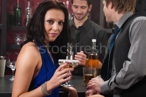 Attractive woman sitting at the bar drink Stock photo © CandyboxPhoto