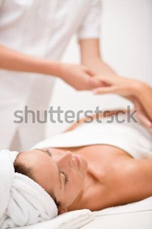 Foto stock: Cabelo · castanho · mulher · adormecido · nu · branco · cama