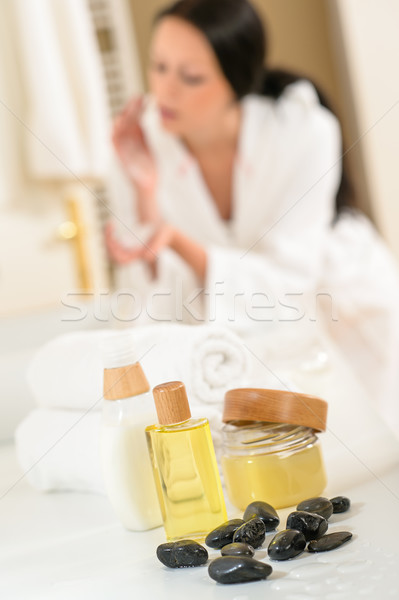 Bathroom body care products and towels close-up  Stock photo © CandyboxPhoto