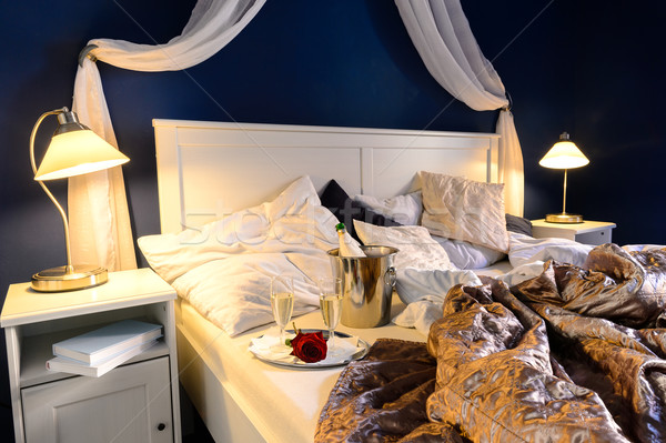 Rumpled sheets hotel bedroom romantic night Stock photo © CandyboxPhoto