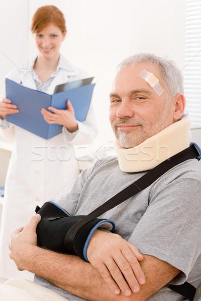 Idős beteg törött kar orvos iroda Stock fotó © CandyboxPhoto