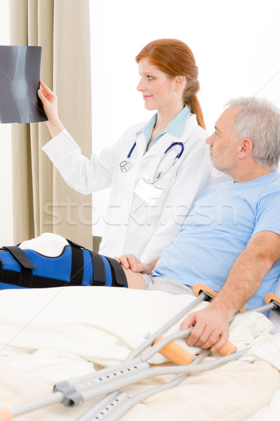 Hospital - female doctor patient broken leg Stock photo © CandyboxPhoto