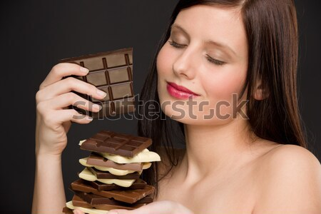 Chocolate - portrait healthy woman enjoy sweets Stock photo © CandyboxPhoto