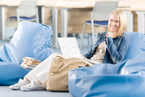 Happy student girl relaxing at high school Stock photo © CandyboxPhoto