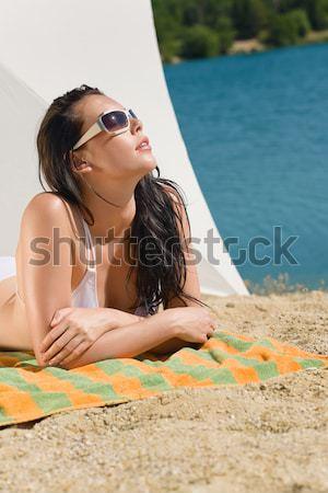 Nyár tengerpart nő kék bikini melltartó Stock fotó © CandyboxPhoto