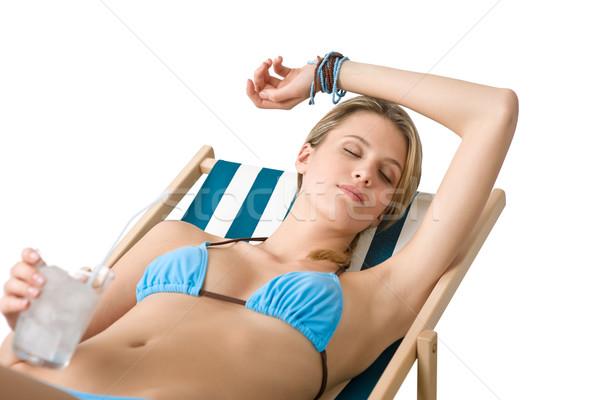 Spiaggia felice donna bikini bevanda fredda relax Foto d'archivio © CandyboxPhoto