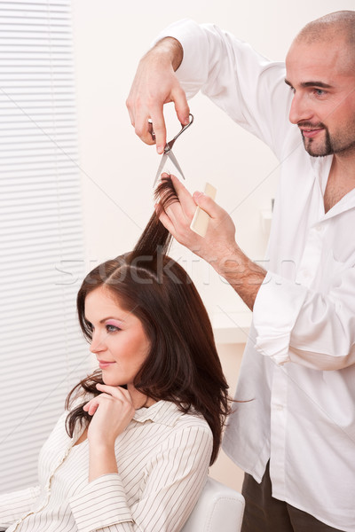 Professional hairdresser cut with scissors at salon Stock photo © CandyboxPhoto
