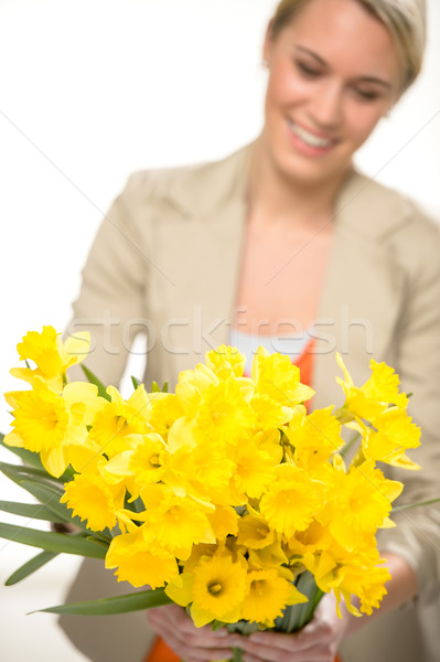Yellow spring narcissus woman in background Stock photo © CandyboxPhoto