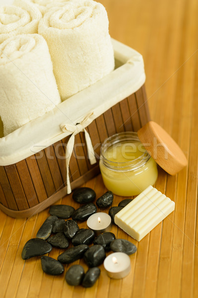 Spa body care products and towels close-up  Stock photo © CandyboxPhoto