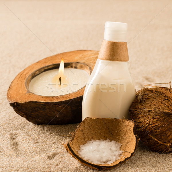 Stock photo: Spa coconut body products