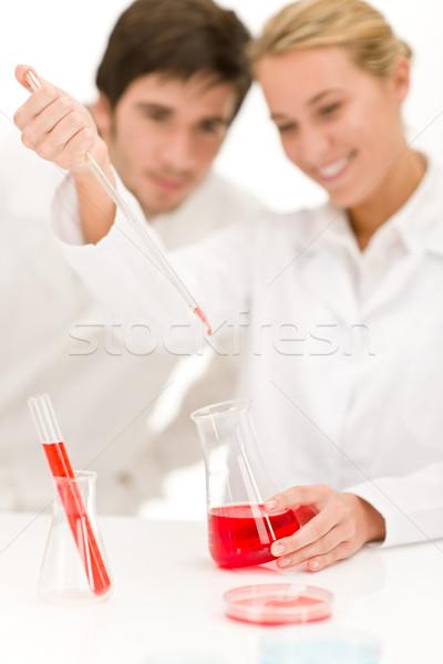 Cientistas laboratório gripe vírus test tube vermelho Foto stock © CandyboxPhoto
