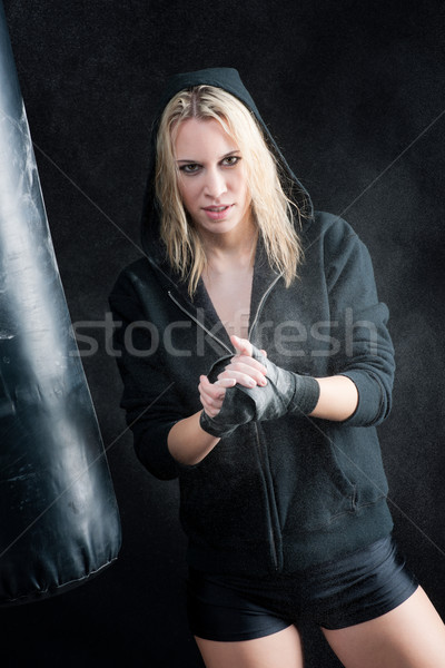 Blond boxing woman in black prepare training Stock photo © CandyboxPhoto