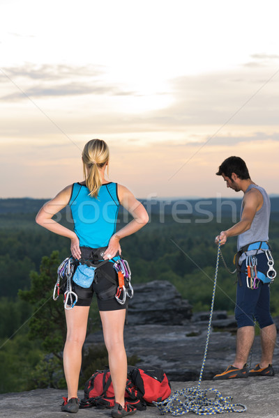 Rock climbing active people on top sunset Stock photo © CandyboxPhoto