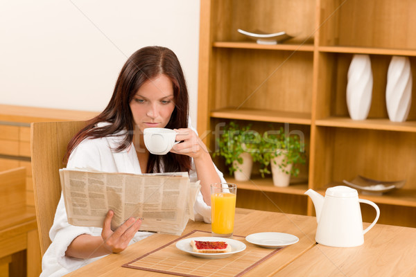 Breakfast at home happy woman read newspapers Stock photo © CandyboxPhoto