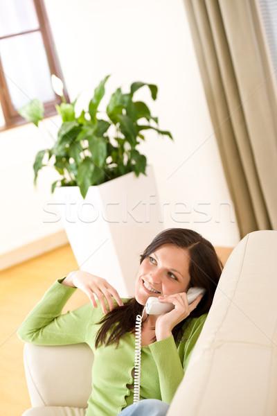 Telefon otthon boldog nő hív növény Stock fotó © CandyboxPhoto