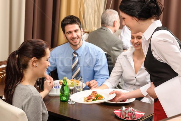 Foto stock: Negocios · almuerzo · restaurante · camarera · mujer