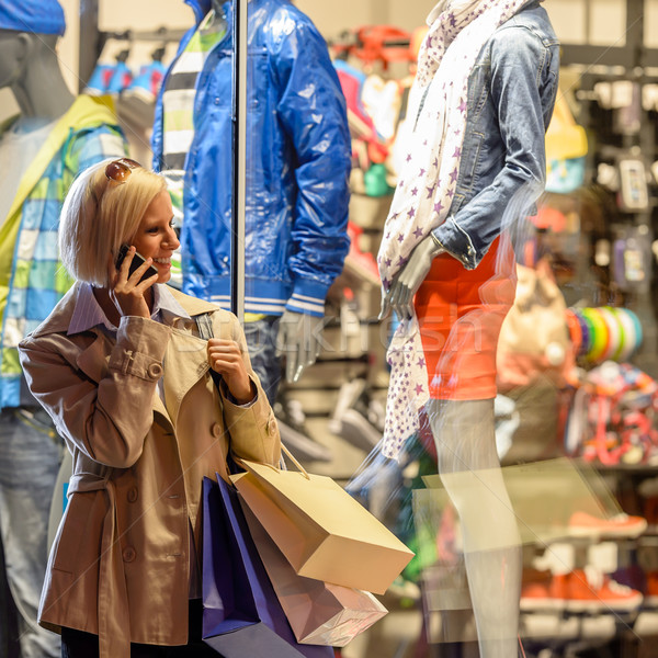 Young woman with shopping bags night city Stock photo © CandyboxPhoto