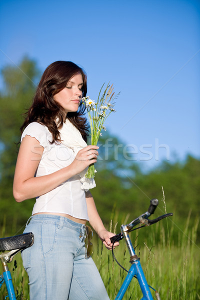 女性 自転車 夏 花 花束 ストックフォト © CandyboxPhoto