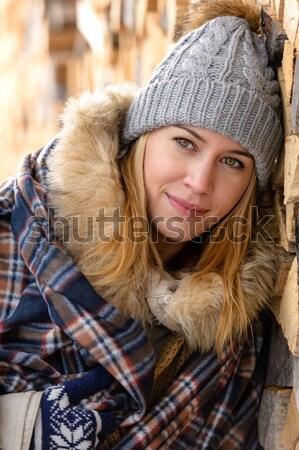Stock fotó: Divat · tél · nő · borító · pléd · vidék