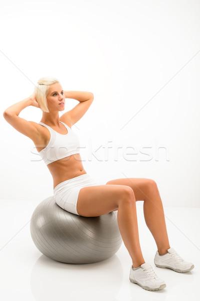 Fehér fitnessz nő testmozgás ezüst labda fitnessz Stock fotó © CandyboxPhoto