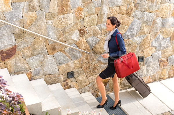 Smiling woman business going traveling baggage leaving Stock photo © CandyboxPhoto