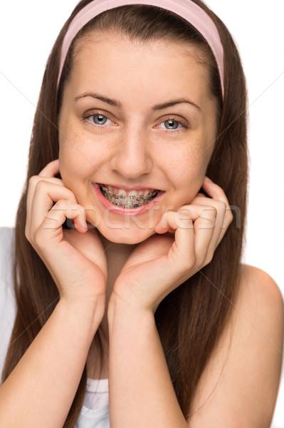 Sonriendo nina tirantes aislado adolescente belleza Foto stock © CandyboxPhoto
