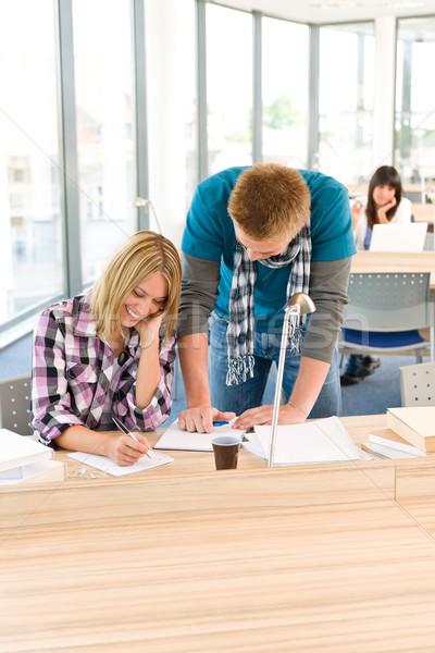Kettő diákok középiskola ír jegyzetek ül Stock fotó © CandyboxPhoto