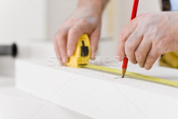 Home improvement klusjesman maatregel baksteen workshop tool Stockfoto © CandyboxPhoto