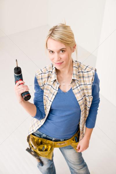家の修繕 女性 バッテリー コードレス 幸せ ストックフォト © CandyboxPhoto