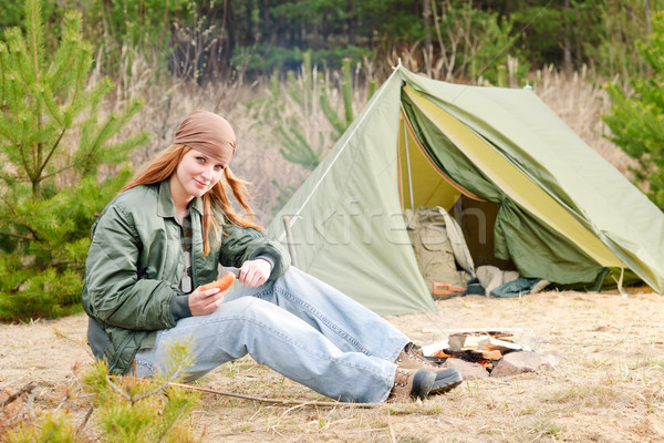 Camping woman tent nature cut sausage Stock photo © CandyboxPhoto