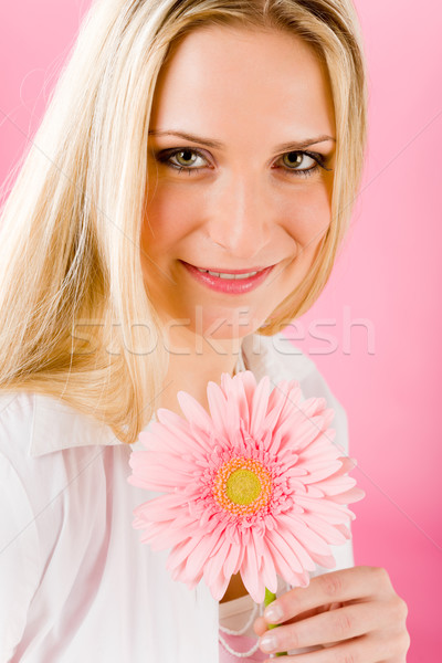 Romantic woman hold pink gerbera daisy flower Stock photo © CandyboxPhoto